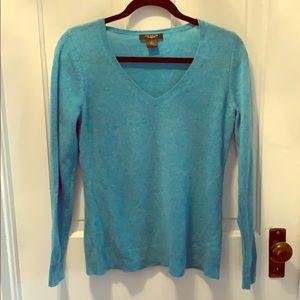 Ann Taylor cashmere aqua V neck sweater